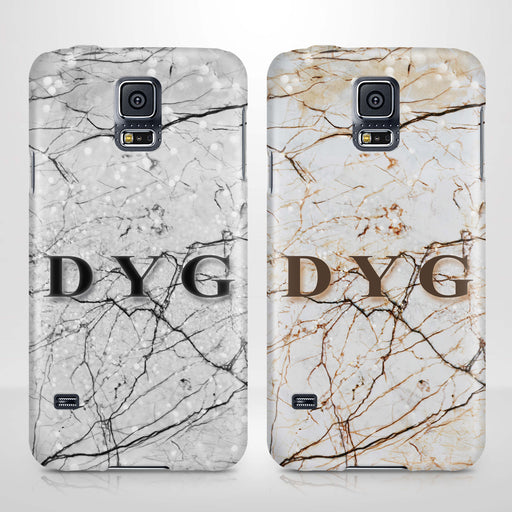 Marble Veins With Initials Samsung Galaxy S5 3D Personalised Phone Case variants