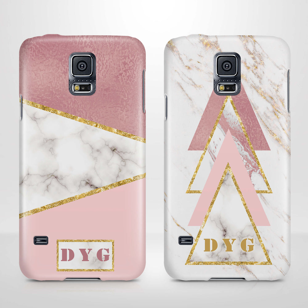 White & Rose marble With Initials Samsung Galaxy S5 3D Custom Phone Case variants