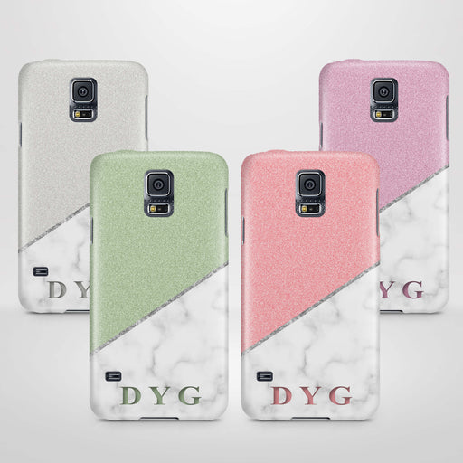 White marble & Glitter With Initial Samsung Galaxy S5 3D Custom Phone Case variants