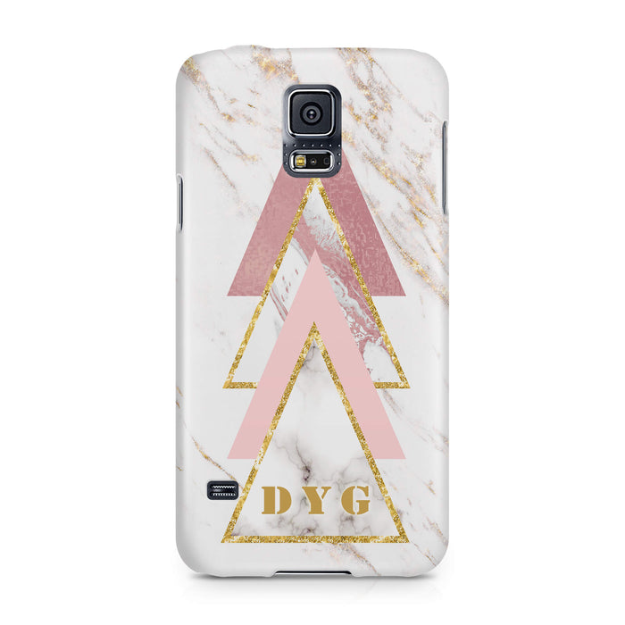 White & Rose marble With Initials Samsung Galaxy S5 3D Custom Phone Case design 1