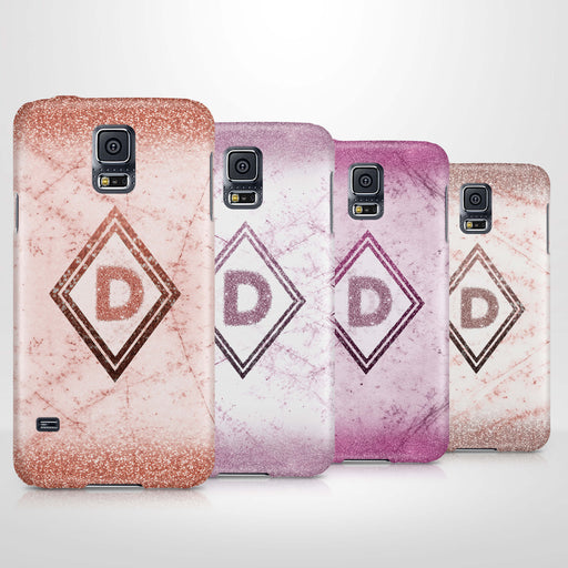 luxury Marble & Glitter With Initial Samsung Galaxy S5 3D Custom Phone Case 4 variants