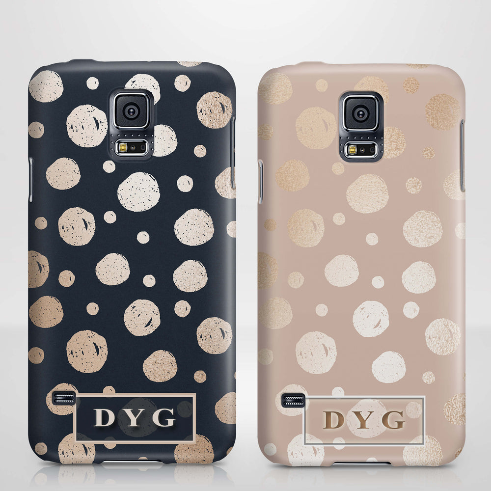 Glossy Dots With Initials - Galaxy S5 3D Custom Phone Case design-your-gift.