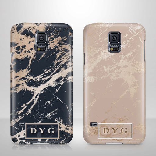 Luxury Gloss Marble With Initials Samsung Galaxy S5 3D Custom Phone Case variants