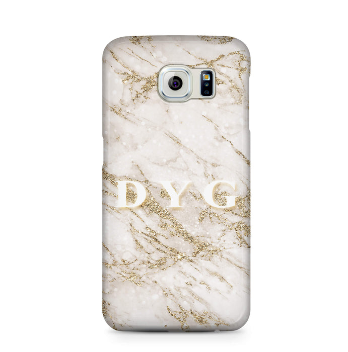 Pearl Marble With Initials - Galaxy S6 3D Custom Phone Case design-your-gift.