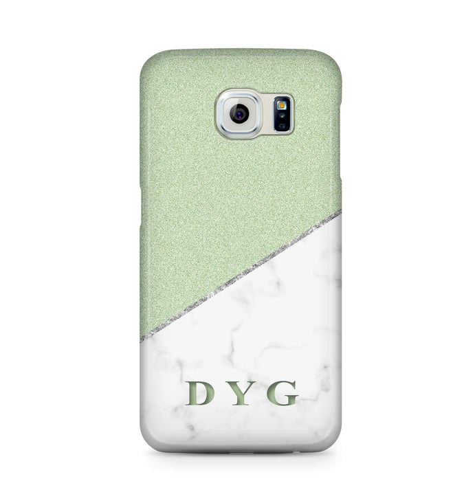 White marble & Glitter With Initial Samsung Galaxy S6 3D Custom Phone Case mint