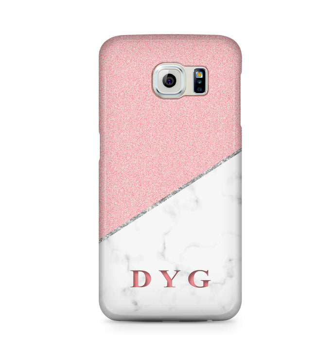 White marble & Glitter With Initial Samsung Galaxy S6 3D Custom Phone Case pink