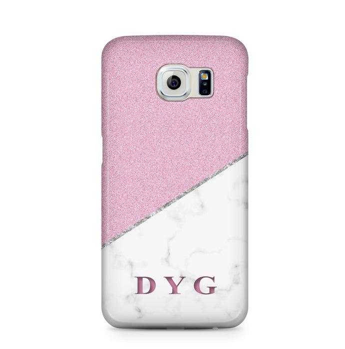 White marble & Glitter With Initial Samsung Galaxy S6 3D Custom Phone Case purple