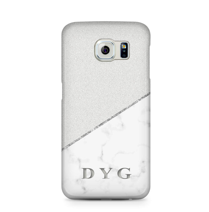 White marble & Glitter With Initial Samsung Galaxy S6 3D Custom Phone Case silver