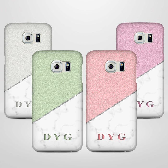 White marble & Glitter With Initial Samsung Galaxy S6 3D Custom Phone Case variants