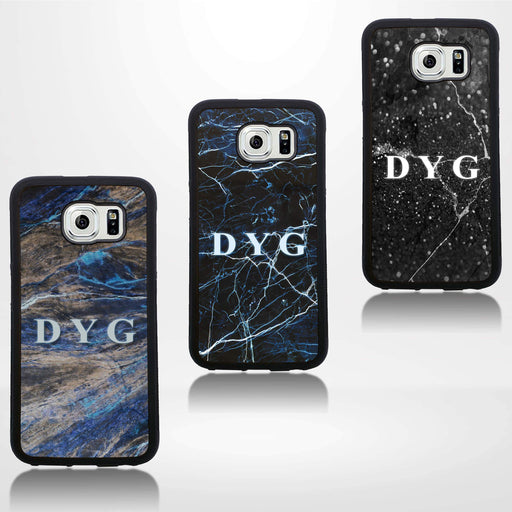 Galaxy S6 Black Rubber Phone Case | Dark Marble Initial Case