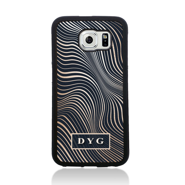 Galaxy S6 Black Rubber Phone Case | Glossy Wave with Initial - black background with glossy rose waves pattern