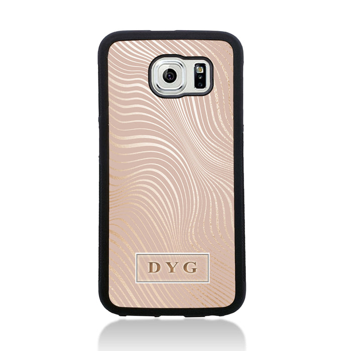 Galaxy S6 Black Rubber Phone Case | Glossy Wave with Initial - champagne background with glossy rose waves pattern