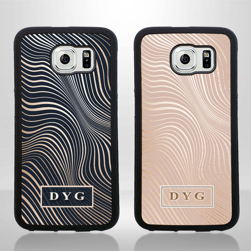 Galaxy S6 Black Rubber Phone Case | Glossy Wave with Initial