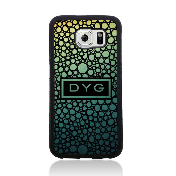 Bubble Hollow Design & Initials - Galaxy S6 Black Rubber Phone Case - green lake design