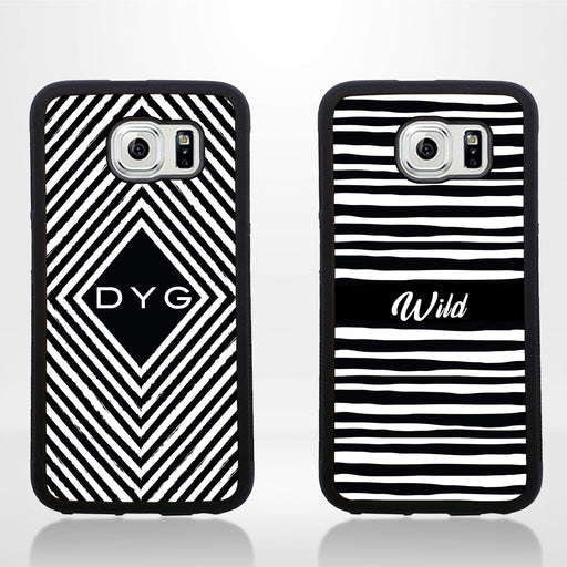 Galaxy S6 Black Rubber Phone Case | initials Pattern Case
