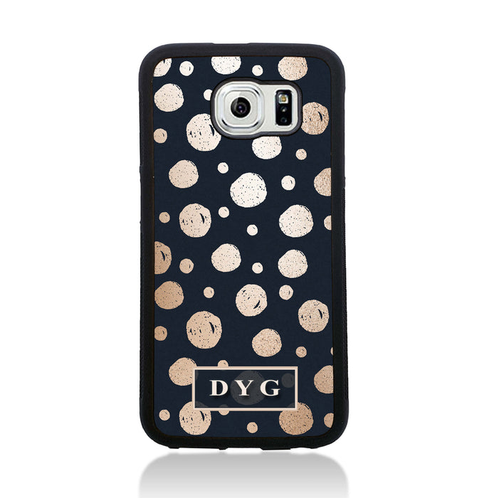 Galaxy S6 Black Rubber Phone Case | Glossy Dots with Initial - black background with glossy rose dots design