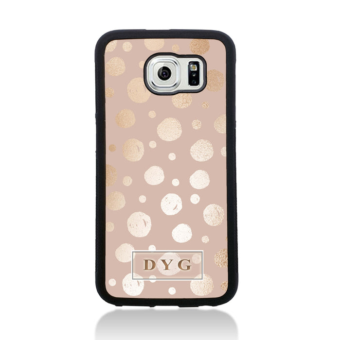 Galaxy S6 Black Rubber Phone Case | Glossy Dots with Initial - champagne background with glossy rose dots design