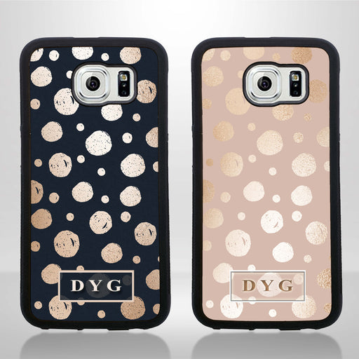 Galaxy S6 Black Rubber Phone Case | Glossy Dots with Initial