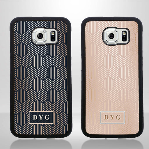 Galaxy S6 Black Rubber Case | Glossy Pattern with Initials