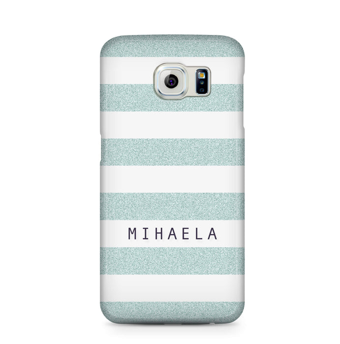 Glitter Stripes With Name Samsung Galaxy S6 Edge 3D Custom Phone Case blue