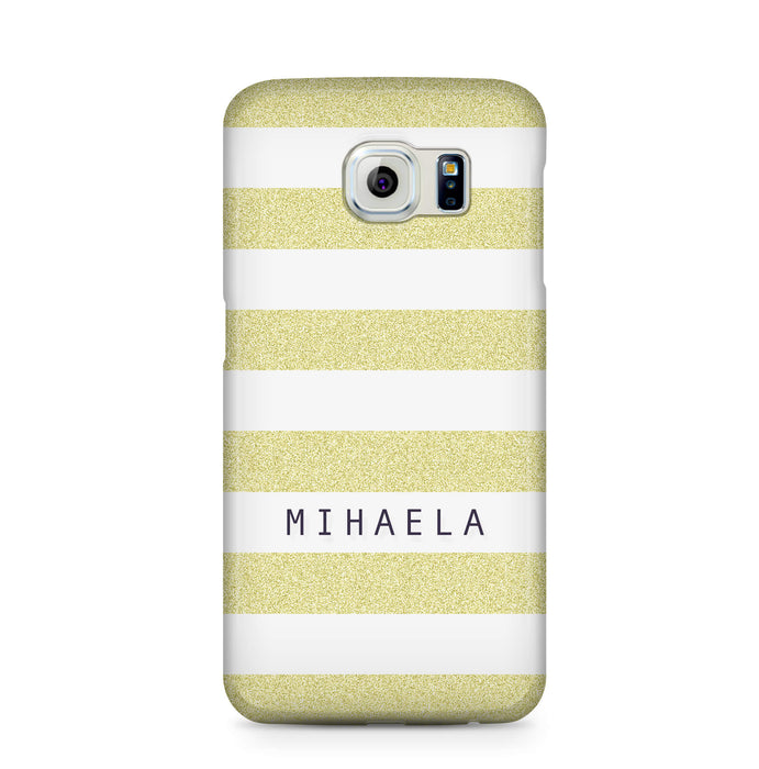 Glitter Stripes With Name Samsung Galaxy S6 Edge 3D Custom Phone Case lime
