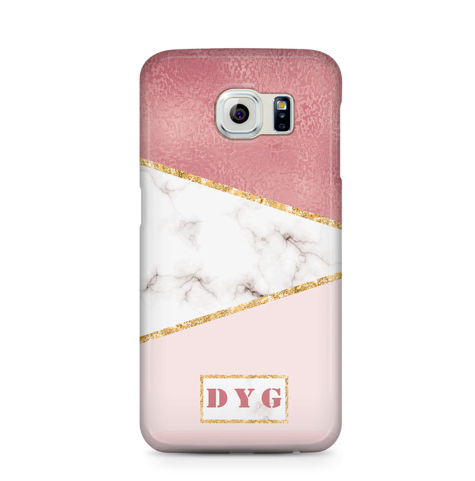 White & Rose marble With Initials Samsung Galaxy S6 Edge 3D Custom Phone Case design 2
