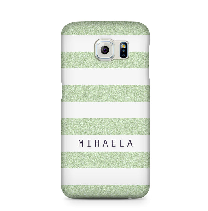 Glitter Stripes With Name Samsung Galaxy S6 Edge 3D Custom Phone Case mint