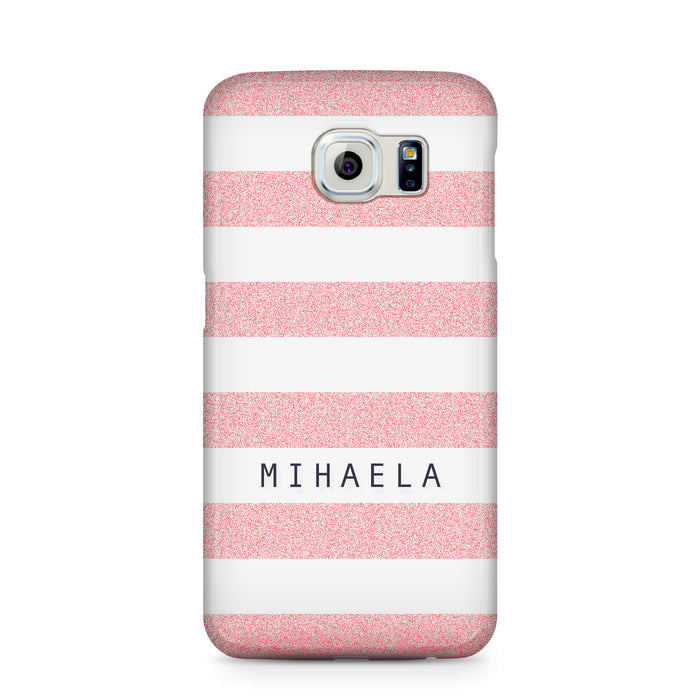 Glitter Stripes With Name Samsung Galaxy S6 Edge 3D Custom Phone Case pink