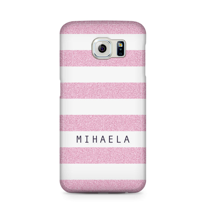 Glitter Stripes With Name Samsung Galaxy S6 Edge 3D Custom Phone Case purple