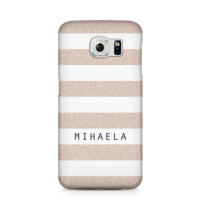 Glitter Stripes With Name Samsung Galaxy S6 Edge 3D Custom Phone Case sand