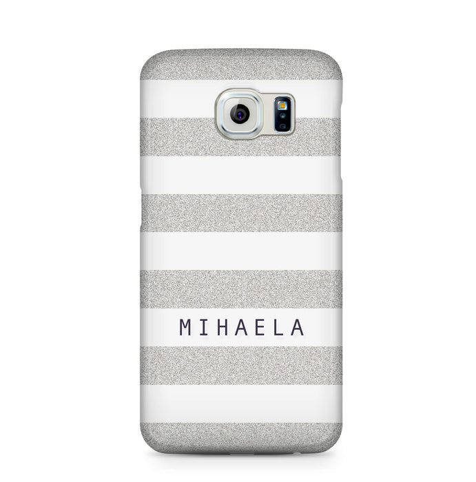 Glitter Stripes With Name Samsung Galaxy S6 Edge 3D Custom Phone Case silver
