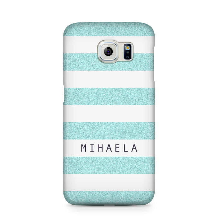 Glitter Stripes With Name Samsung Galaxy S6 Edge 3D Custom Phone Case turquoise