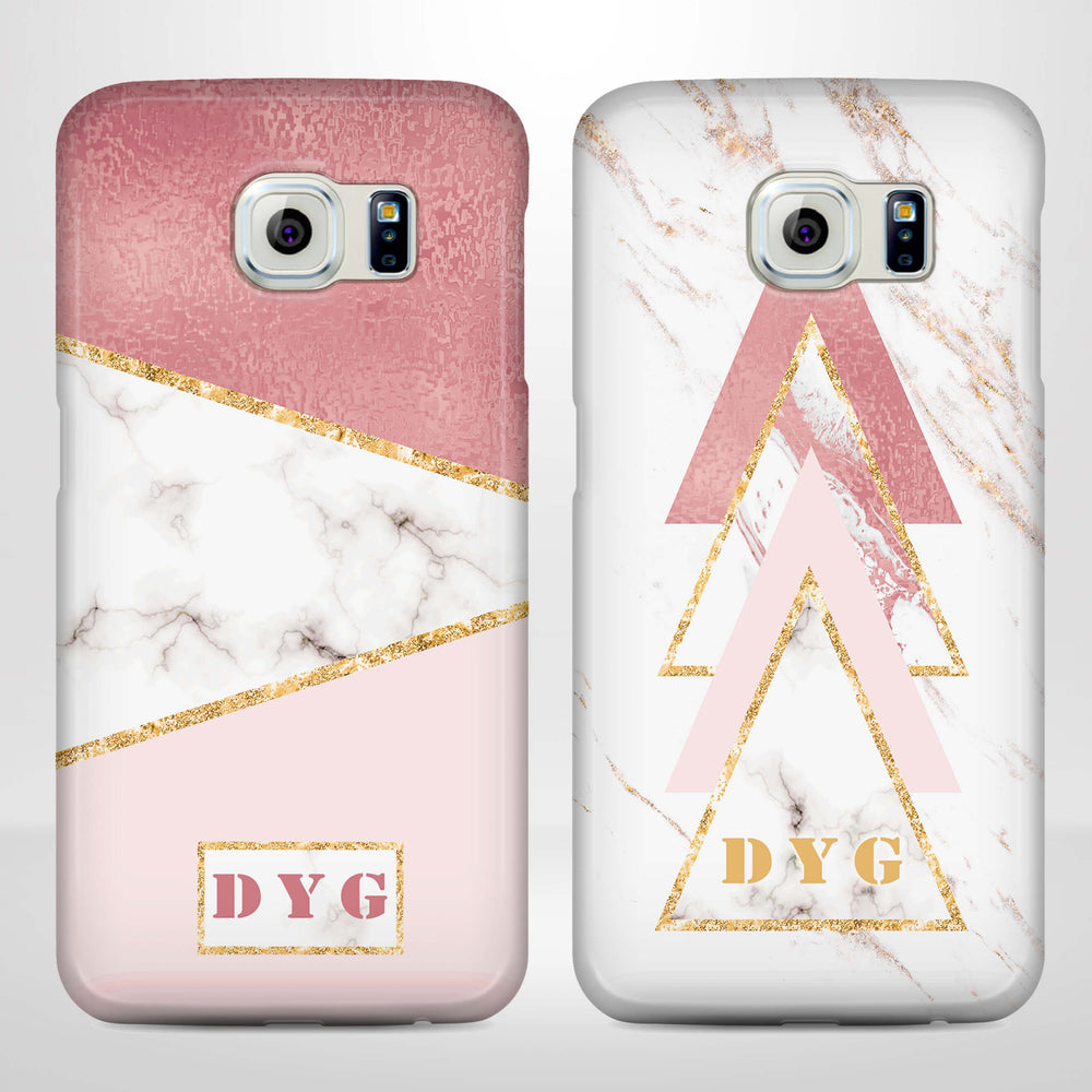 White & Rose marble With Initials Samsung Galaxy S6 Edge 3D Custom Phone Case variants