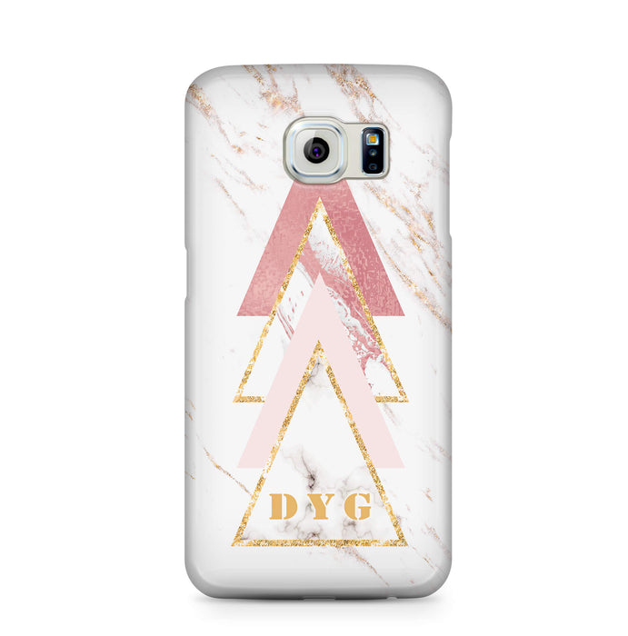 White & Rose marble With Initials Samsung Galaxy S6 Edge 3D Custom Phone Case design 1