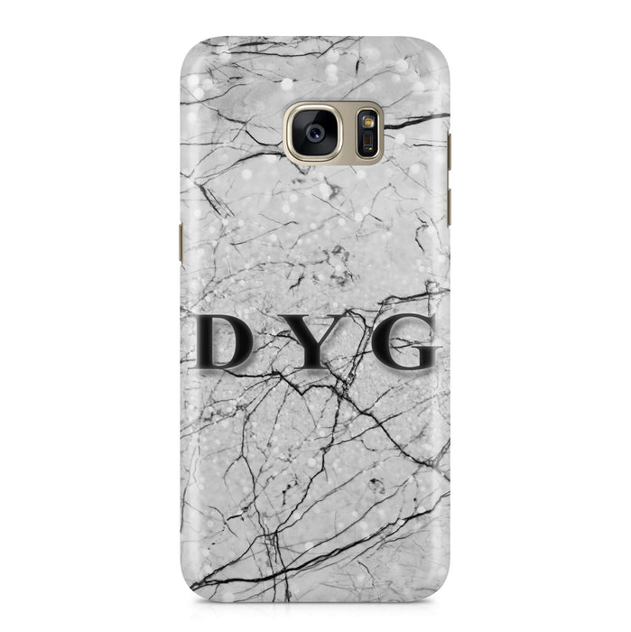 Marble Veins With Initials Samsung Galaxy S7 3D Personalised Phone Case black
