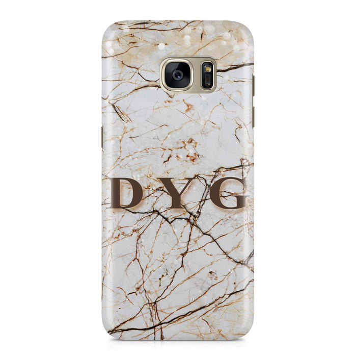 Marble Veins With Initials Samsung Galaxy S7 3D Personalised Phone Case brown