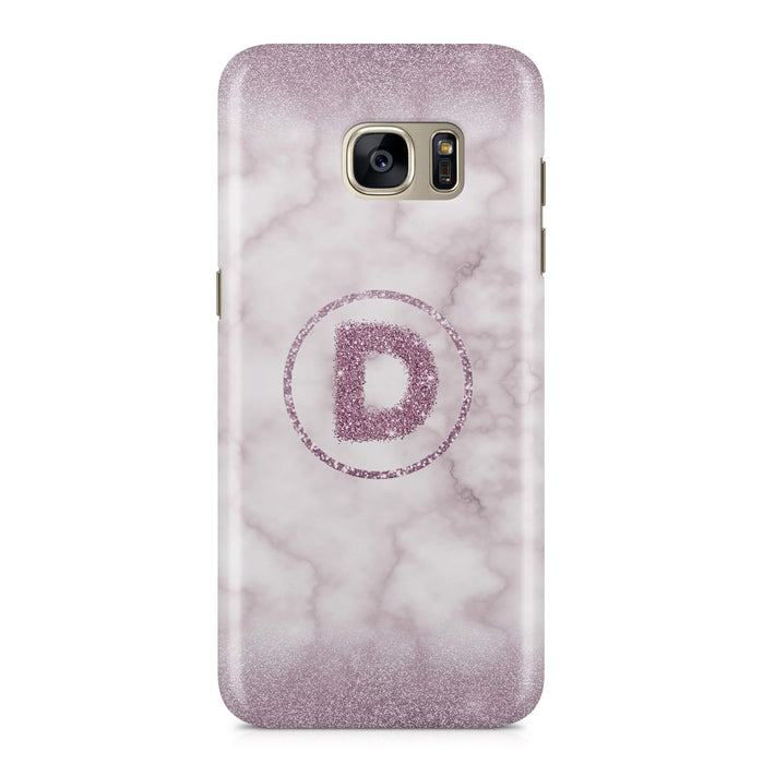 Marble & Glitter With Initial - Galaxy S7 3D Custom Phone Case design-your-gift.