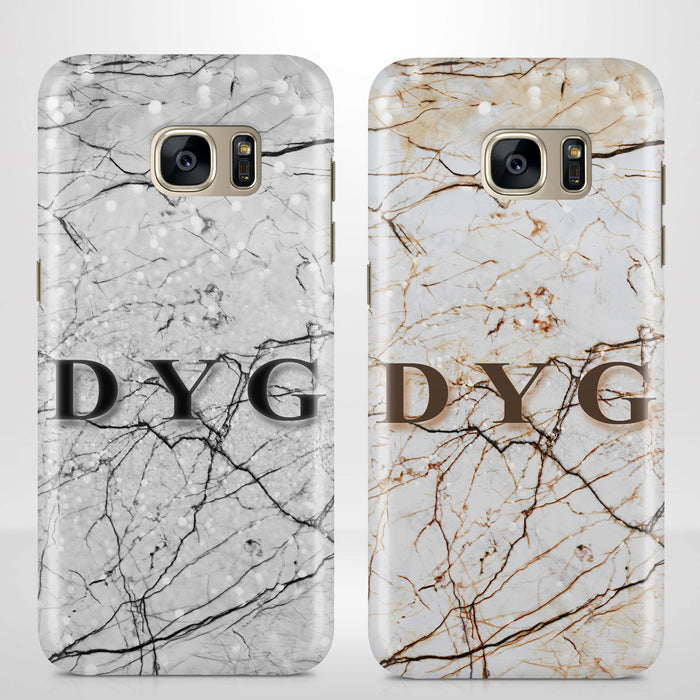 Marble Veins With Initials Samsung Galaxy S7 3D Personalised Phone Case variants