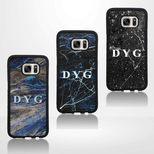 Galaxy S7 Black Rubber Phone Case | Dark Marble Initial Case