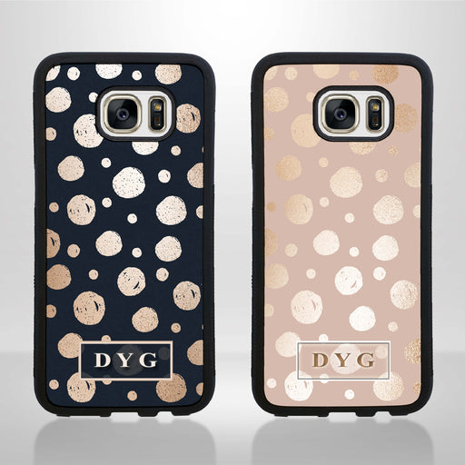 Galaxy S7 Black Rubber Phone Case | Glossy Dots with Initial