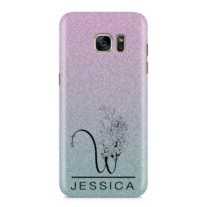 Glitter Floral Initial and Name - Samsung Galaxy S7 Edge Phone Case design-your-gift.