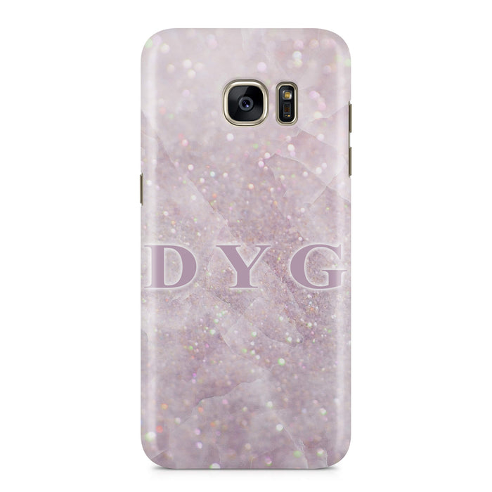 low priced 33c11 e81cd Luxury Glitter Marble Galaxy S7 Edge Case | Initials Phone Case