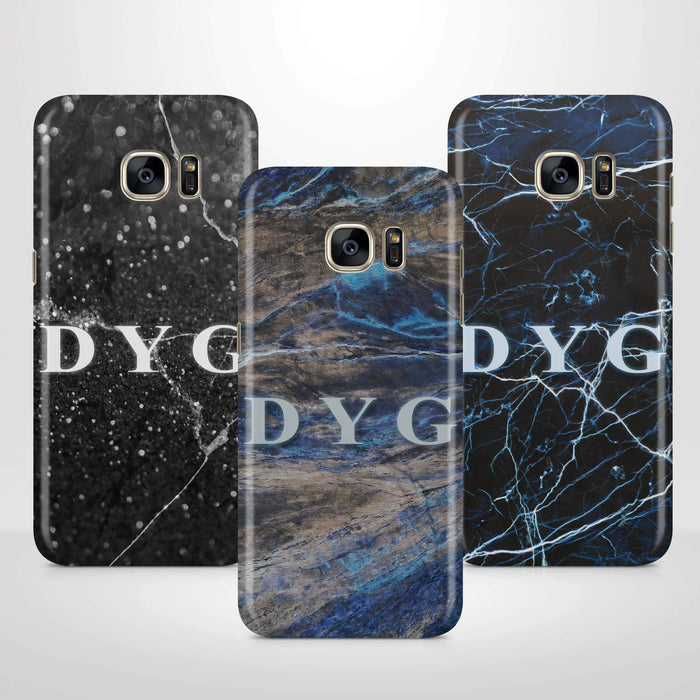 Dark Marble With Initials Samsung Galaxy S7 Edge 3D Custom Phone Case variants