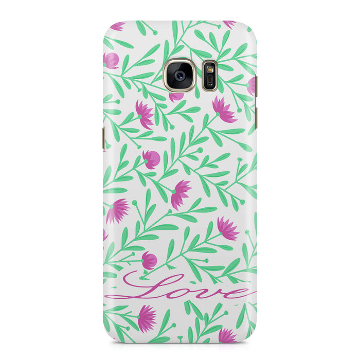 Floral Design with Name Samsung Galaxy S7 Edge 3D Custom Phone Case variant 3