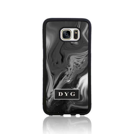 Black Liquid Marble with Initials - Galaxy S7 Edge Black Rubber Case