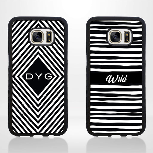 Black & White Pattern and Initial - Galaxy S7 Edge Black Rubber Case