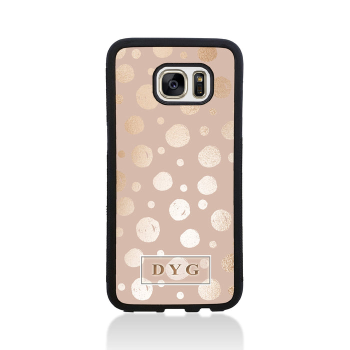 Glossy Dots with Initials - Galaxy S7 Edge Black Rubber Case design-your-gift.
