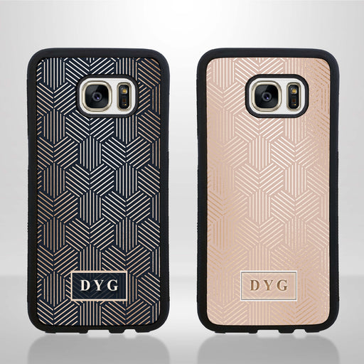 Glossy Pattern and Initial - Galaxy S7 Edge Black Rubber Case