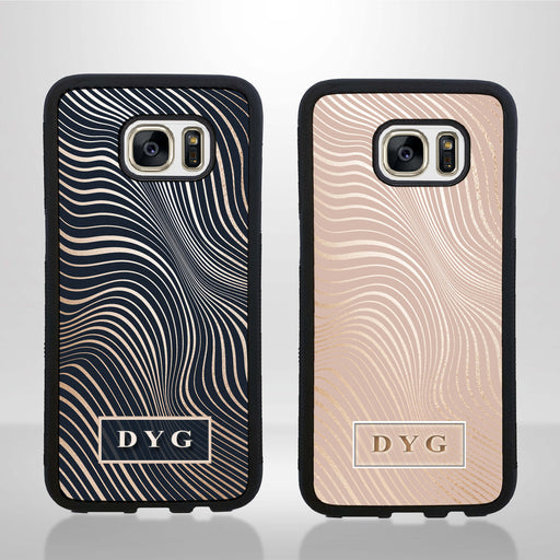 Glossy Waves with Initials - Galaxy S7 Edge Black Rubber Case