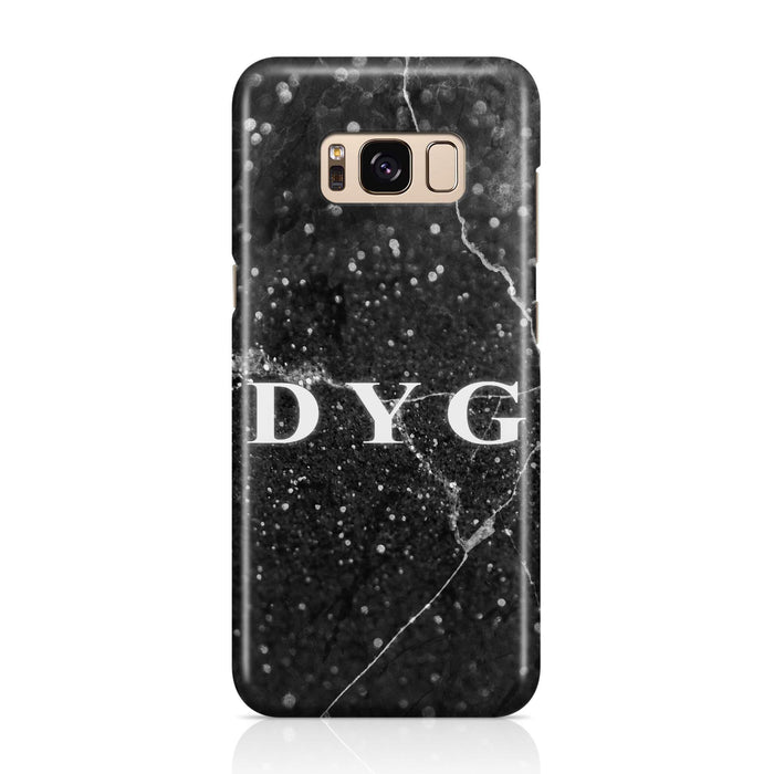 Dark Marble With Initials Samsung Galaxy S8 3D Custom Phone Case black